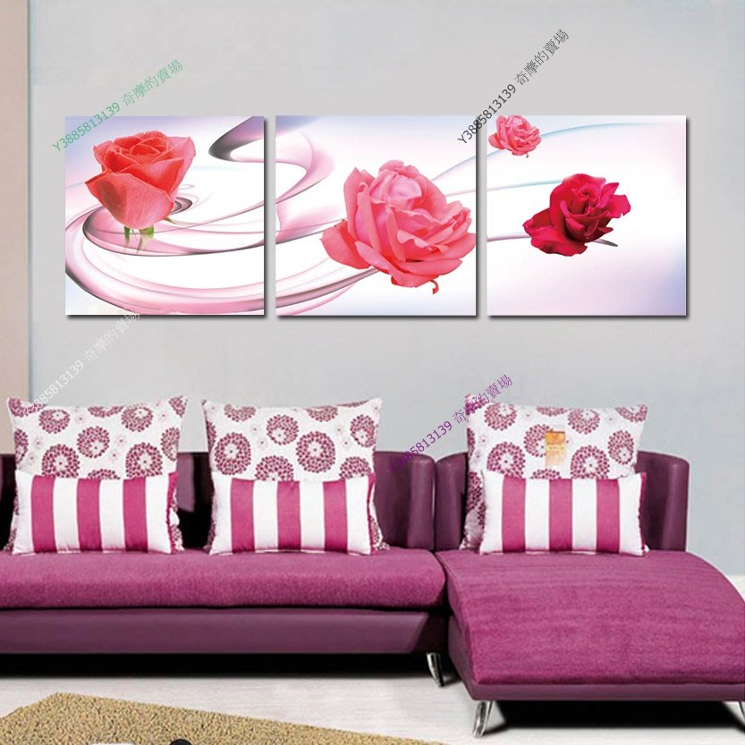【70*70cm】【厚0.9cm】浪漫玫瑰-無框畫裝飾畫版畫客廳簡約家居餐廳臥室牆壁【280101_110】(1套價格)