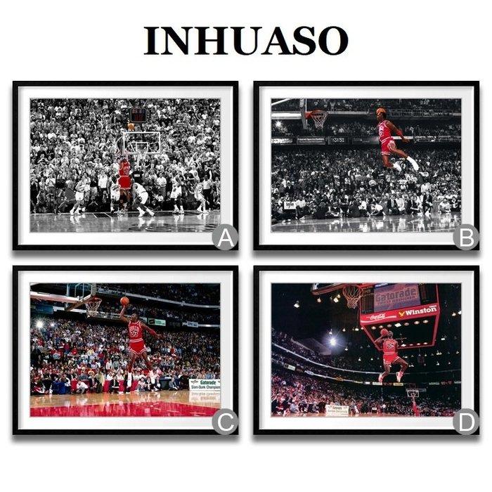 INHUASO 癮|畫|所 NBA籃球明星人物掛畫絕殺飛人喬丹之躍灌籃紀念海報最後一投裝飾畫生日禮禮物禮品紀念收藏畫壁畫