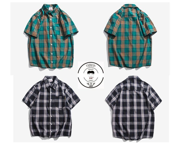 『誰合普UHF®』合作品 街頭格紋 百搭短袖襯衫 男女皆可。2色 (網路特賣價$950)