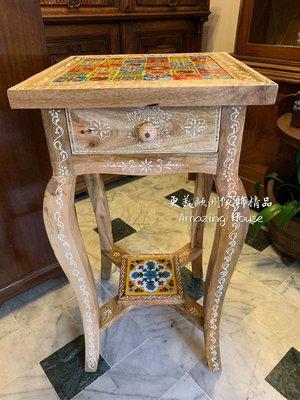 印度??手繪磁磚單抽花台架花磚茶几桌單抽電話桌玄關櫃【更美歐洲傢飾精品Amazing House】台南