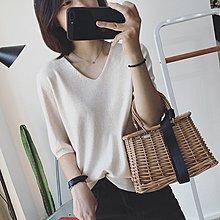 YOHO 短袖針織衫 (BF860) 純色質感好百搭V領寬鬆針織衫 襯衫 短袖上衣 有10色