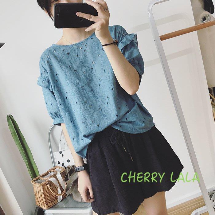 CHERRY LALA 韓。實拍。19夏。鏤空短袖寬鬆顯瘦素色棉麻娃娃衫-藍/桔/白  PH06012