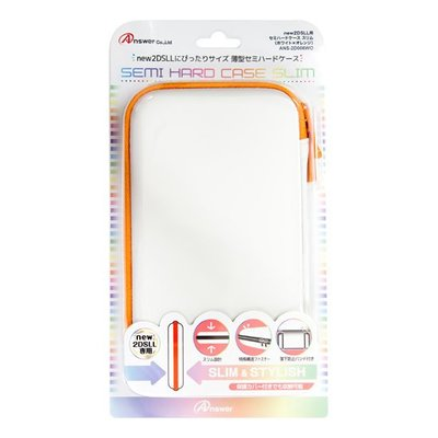 new2DSLL專用 ANSWER EVA薄型硬殼包 可裝主機殼可收納卡帶 白橙色 【板橋魔力】