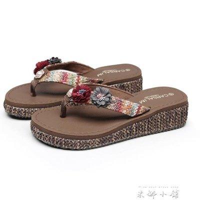 新款沙灘鞋拖鞋女夏海邊防滑外穿厚底夾腳涼拖中跟度假時尚人字拖