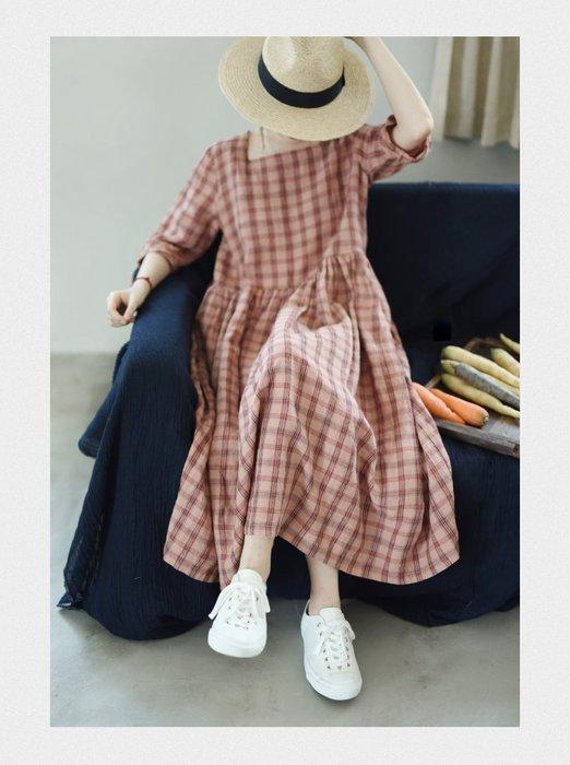 ||一品著衣|| 於是,你笑了 | 色織格子 純亞麻格紋袍子 方領連衣裙