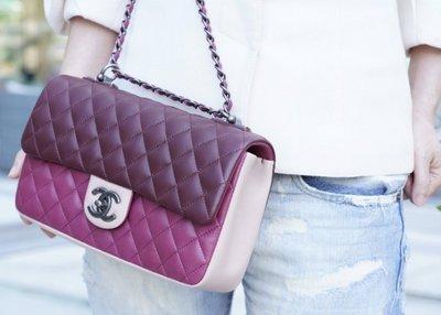 Chanel Flap Coco 包 小羊皮銀鍊 28 cm 櫻桃紅/粉紅拼