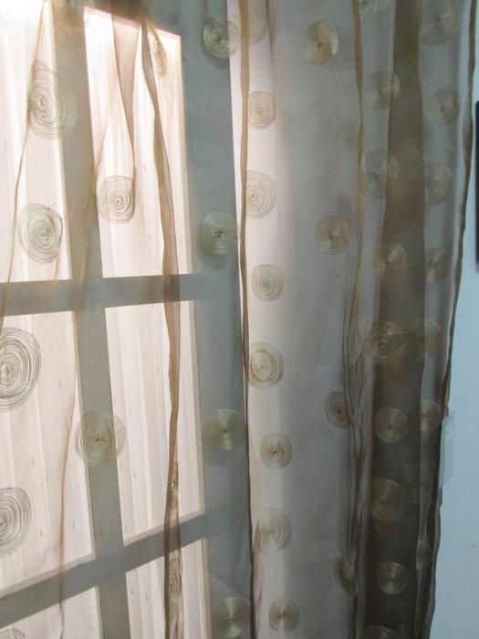 [W061]窗簾 窗紗  No.5繡黃圈圈咖啡透紗  特價出清  無接縫紗 簡約 鄉村