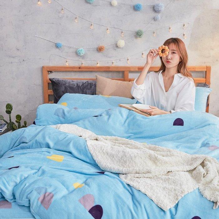 法蘭絨 / 雙人加大【卡爾點點】含兩件枕套  鋪棉床包薄被毯組  戀家小舖AAR315