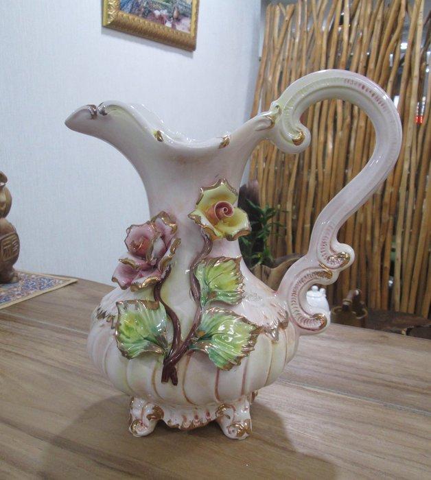 【肯萊柚木傢俱館】 義大利製 異國風味 手製 陶瓷玫瑰花瓶/花器/水壺