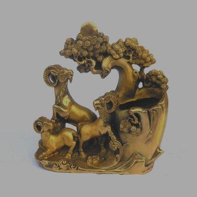 開光純銅三羊開泰筆筒家居風水擺件三陽開泰動物擺件家居銅器裝飾