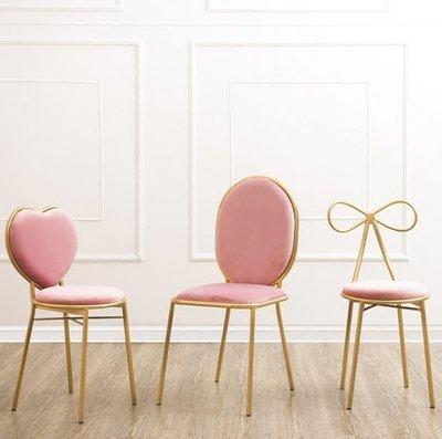『格倫雅』北歐金屬靠背餐椅設計師休閑椅單人座椅子軟椅梳妝椅公主椅化妝椅^1664
