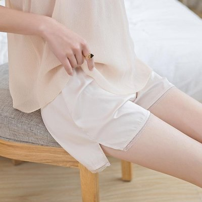 安全褲蕾絲安全褲防走光女夏薄款冰絲不捲邊可內外穿寬鬆保險褲打底短褲  全館免運