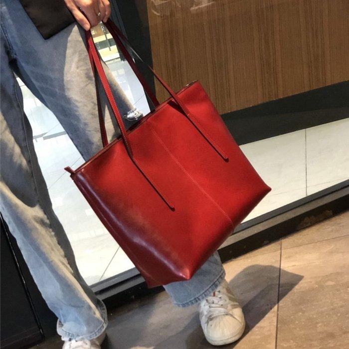 【極簡時尚】真皮托特包手提包大容量單肩包