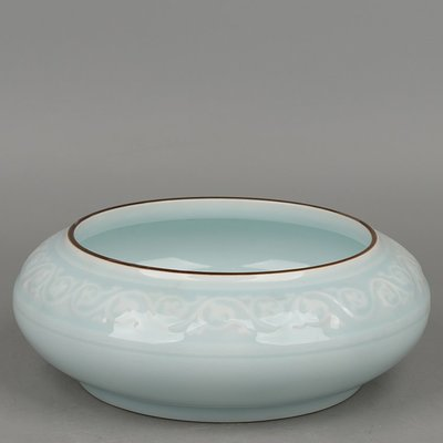 ㊣姥姥的寶藏㊣景德鎮陶瓷醬釉口影青釉雕花水淺筆洗茶洗