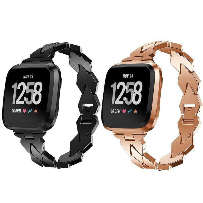 Fitbit Versa 錶帶 金屬錶帶 智能手錶帶 菱形鏈式錶帶 時尚女士 替換腕帶 商務型錶帶 簡約時尚