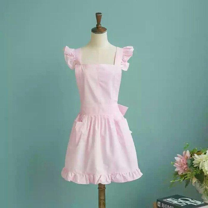 UL 韓版甜美公主風工作圍裙 廚房餐廳咖啡店 麵包店甜美圍裙 工作服 粉色 現貨
