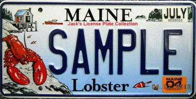 拍賣美國盛產大龍蝦的緬因州紀念(樣品)汽車車牌,保證真品直接向緬因州政府買的