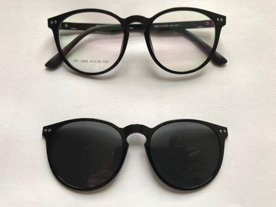二合一偏光灰色夾片梨形亮黑色眼鏡(D56)