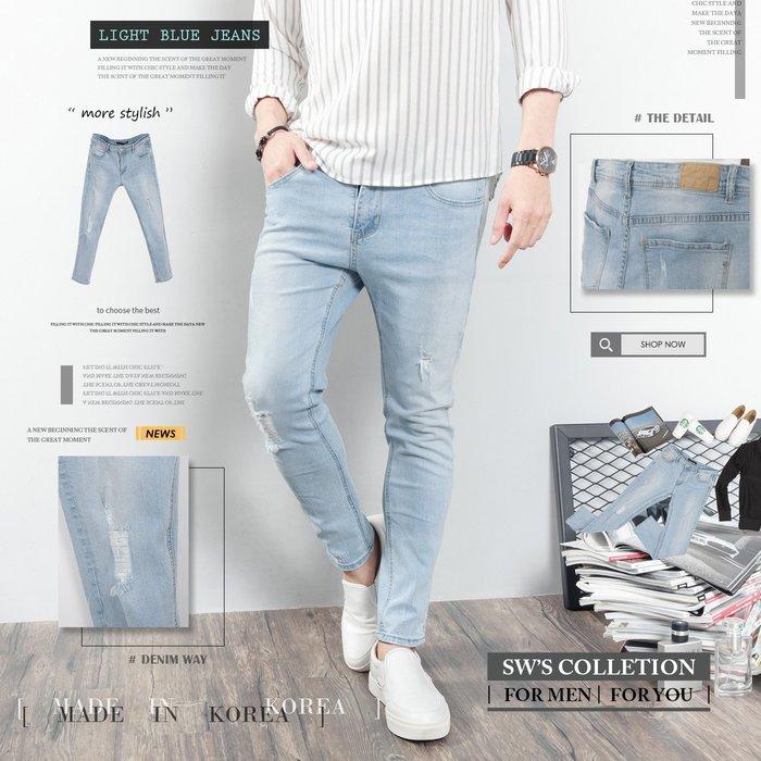 。SW。【K91635】正韓D.cr 韓國製 修身 觸感舒適 抽鬚磨痕 淺藍刷色 彈性牛仔單寧褲 九分褲 英倫 GD