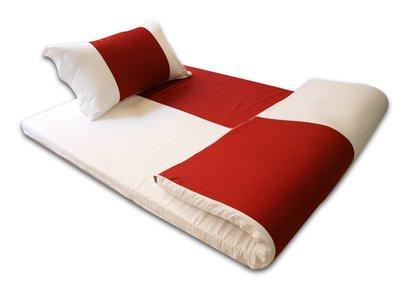 《特價品》-麗塔寢飾- 【紅白配】精梳棉 雙人薄墊專用套(高度5cm) - 免運