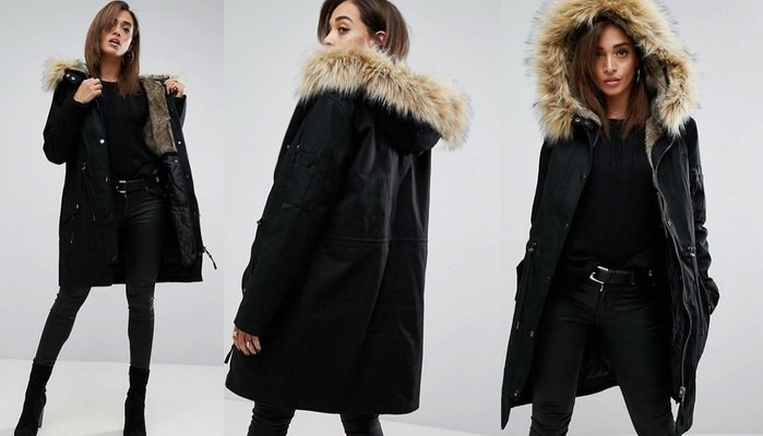 ◎美國代買◎ASOS可拆式毛毛內裡搭配毛絨絨毛滾邊連帽帥氣中性風毛毛內裡連帽愛斯基摩大衣外套~歐美街風~大尺碼