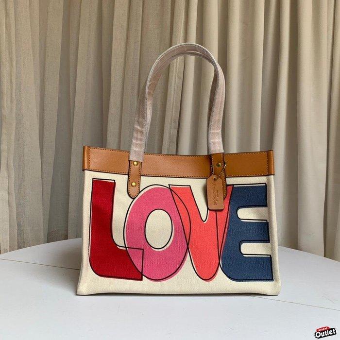 【全球購.COM】COACH 89231 2020新款 LOVE塗鴉托特包 購物袋 單肩包 美國代購