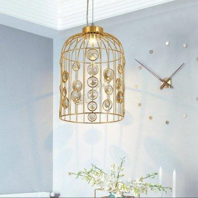 Rural 大號 美式 鄉村 田園 鐵藝 鳥籠 水晶 餐廳 吊燈 後現代 創意 個性 吊燈 E14 110V~220V