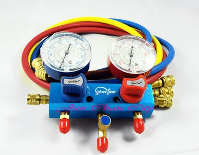 R22鋁合金雙錶組 球閥式 5尺皮管 台灣製 新冷媒 冷氣錶 冷氣空調專業工具