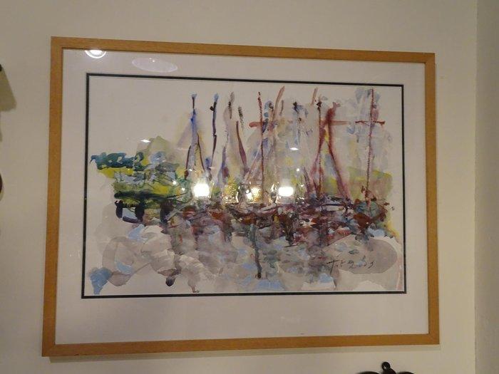 【卡卡頌 歐洲跳蚤市場/歐洲古董】歐洲老件_港灣 帆船 風景水彩手繪原作 pa0134