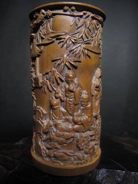 黃楊木雕◎竹林七賢 小 筆筒