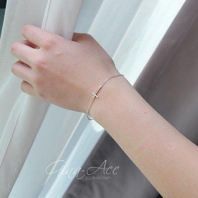 韓國Baby~通體s925純銀十字架簡約纖細手鍊 可調節極簡秀氣手鍊女