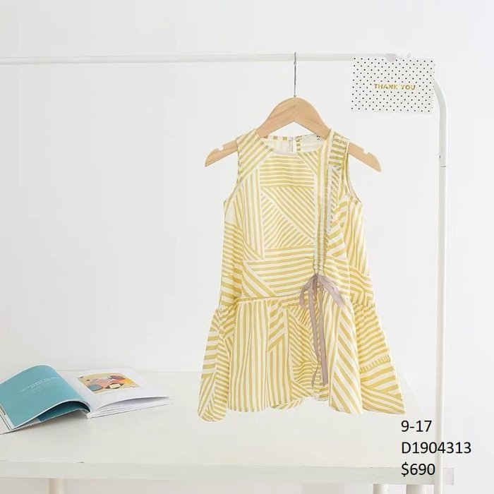 【Girl】 JC BABY 舒適條紋蝴蝶結洋裝(共黃色) #D1904313