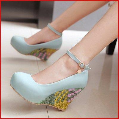 *鞋館Shoes hall*【A9424】獨特自我~巧思編織感厚底楔型跟鞋~3色~(可訂做大尺碼)
