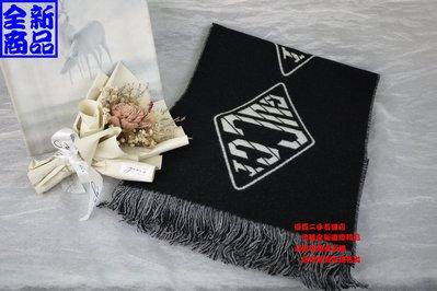 優買二手精品名牌店 GUCCI 521524 黑色 羊毛 羊毛絨 LOGO gg 字紋 印花 長巾 圍巾 披巾 全新