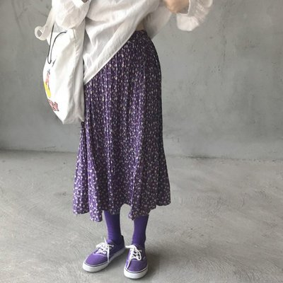 鬆緊腰百褶裙 紫色系壓褶小碎花寬鬆長裙 艾爾莎【TAE8056】
