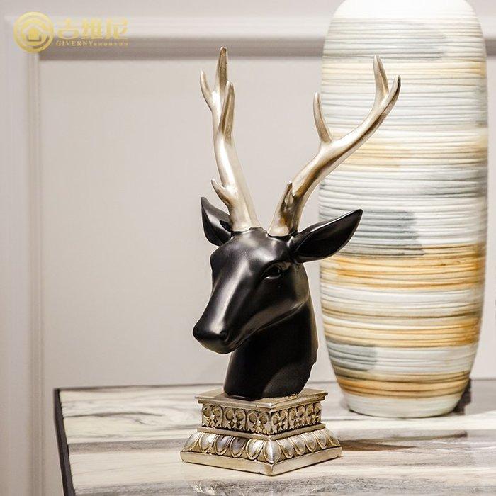 〖洋碼頭〗歐式動物鹿頭擺件樣板房家居飾品客廳玄關裝飾樹脂工藝品 jwn398