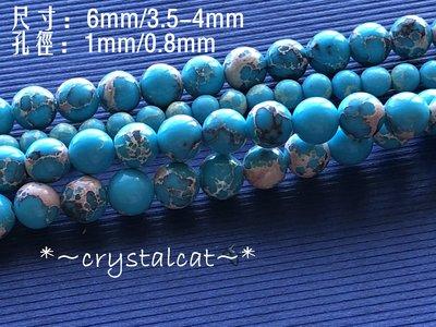 *~水晶貓手創水晶/玉石/925純銀飾品 批發,天然帝王石圓飾品配件6mm,單顆