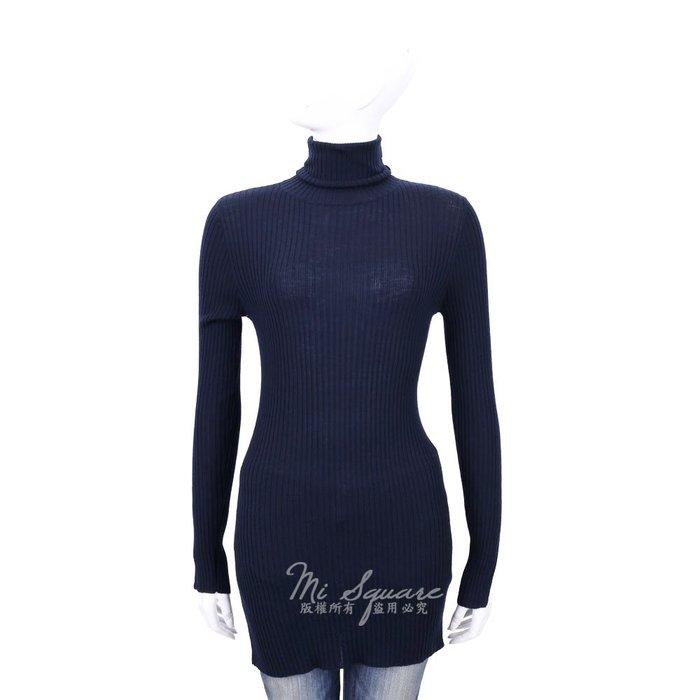 米蘭廣場 ALLUDE 100%LANA 深藍色羅紋針織羊毛高領上衣 1540652-34 M號