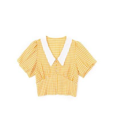 Kate@JIN自制夏復古格子娃娃領泡泡袖襯衫顯瘦百搭顯白高腰法式短襯衣