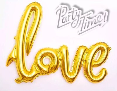 Party time~大號求婚連體LOVE字母鋁膜氣球/求婚佈置/婚房佈置(金色)