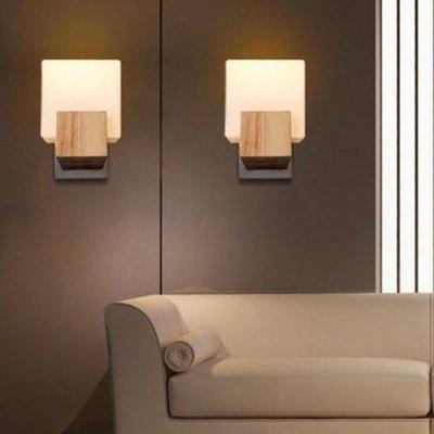 unhappy 實木方糖壁燈 美式鄉村 餐廳 咖啡廳 客廳 臥室 床頭燈 酒店過道壁燈 E27 110~220V