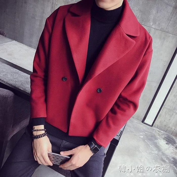 男短款外套秋冬新款韓版發型師大衣翻領夾克潮男披風YXS