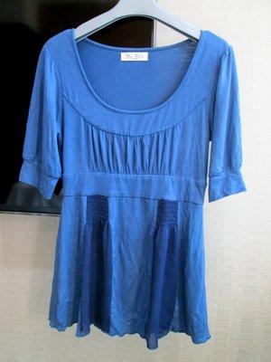 專櫃SO NICE藍色系小包袖MOMA DITA MASTINA款棉質小傘狀上衣