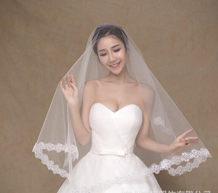 56619婚紗用品/韓版新娘頭紗(如圖)/晚宴服網紗公主小禮服洋裝裙短款蓬蓬裙另有新娘飾品手套