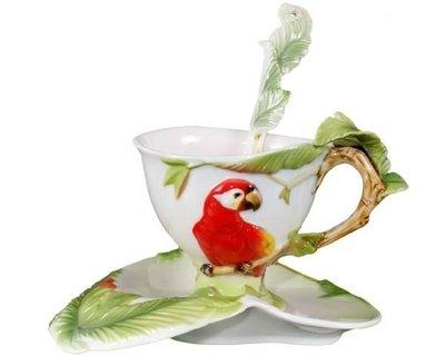 5Cgo【鴿樓】會員有優惠 琺琅瓷 12790349144 鸚鵡 立體陶瓷杯盤匙組 (一組) 花茶杯 咖非杯