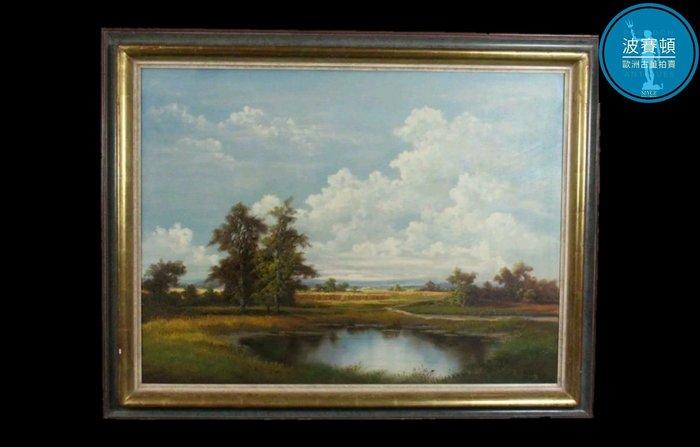 【波賽頓-歐洲古董拍賣】歐洲/西洋古董 法國古董 手工老木框 寫實風格 手繪湖畔風景油畫 (尺寸:95×75公分)(年份:1935年)(落款:A.Busch)