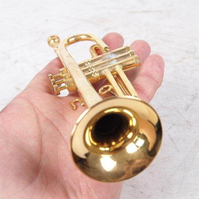 百寶軒 西洋老物件帶箱仿真黃銅小號樂器模型袖珍小號擺設禮品稀有 ZG1281