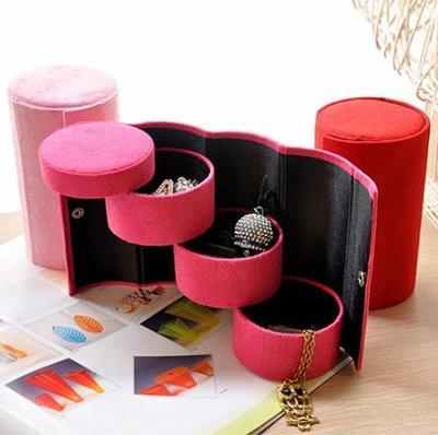 絨布圓筒三層收納首飾盒/復古珠寶盒/便攜飾品包裝盒129元