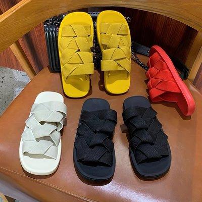 編織涼拖鞋正韓小冤家時尚兩穿彈力編織方頭平底涼拖鞋(21 JUN TA) 同風格請在賣場搜尋 BLU 或 歐美女鞋