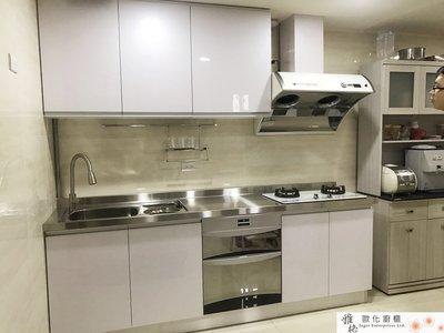 【雅格廚櫃】工廠直營~一字型廚櫃、不銹鋼檯面、廚具、水晶門板、櫻花落地型烘碗機